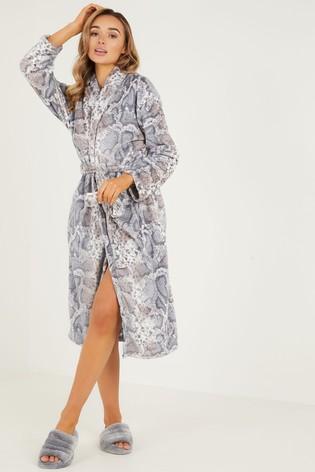 Quiz Grey Snake Print Fleeve Robe
