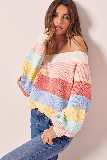 Lipsy Rainbow Regular Stripe Slash Neck Knitted Jumper