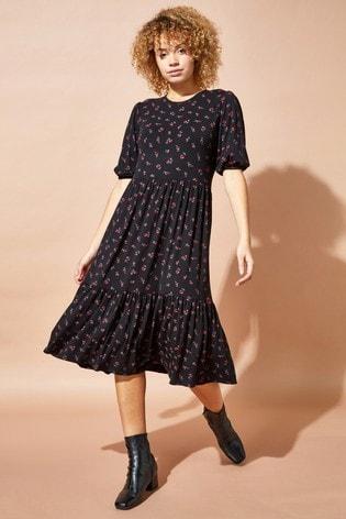 Roman Black Ditsy Floral Tiered Midi Dress