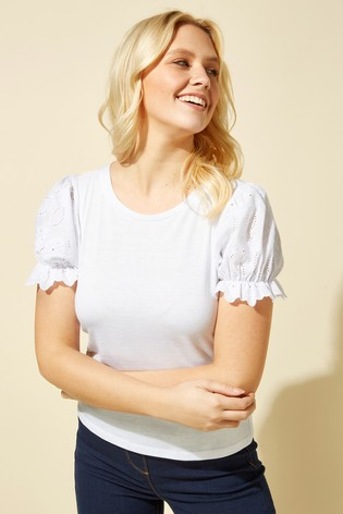 Roman White Embroidered Puff Sleeve T-Shirt