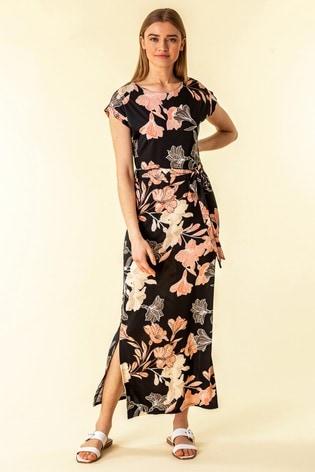 Roman Black Belted Floral Maxi Dress