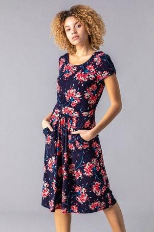 Roman Navy Floral Print Gathered Midi Dress