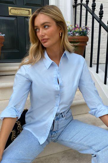 Lipsy Blue Cotton Poplin Regular Oversized Shirt