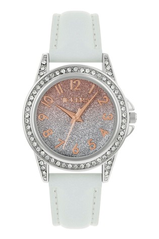Tikkers White PU Strap Shimmer Dial Effect Watch