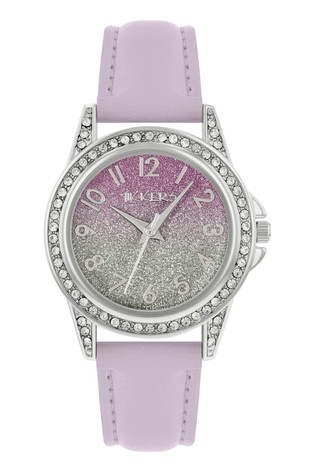 Tikkers Lilac PU Strap Shimmer Dial Effect Watch