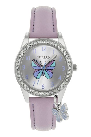 Tikkers Lilac Butterfly PU Strap Charm & Dial Watch