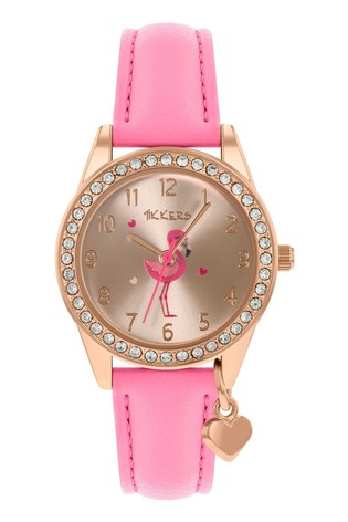 Tikkers Pink HeartFlamingo PU Strap Charm & Dial Watch