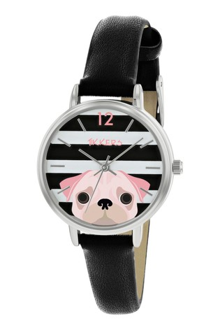 Tikkers Pink Dog PU Strap Dial with Stripes and Pink Dog Watch