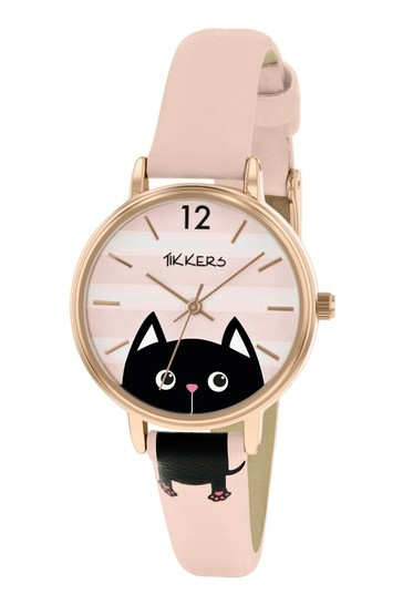Tikkers Pink Cat PU Strap Dial with Stripes and Pink Dog Watch
