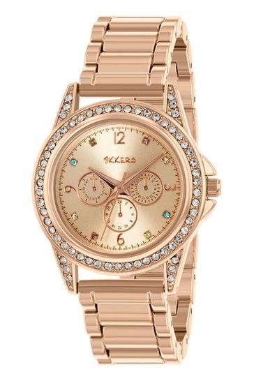 Tikkers Rose Gold Stainless Steel Bracelet Multicoloured Gem Dial Watch