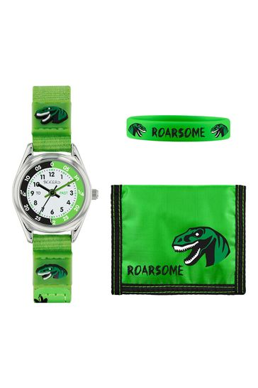 Tikkers Green Velcro Dinosaur Watch and Wallet Set.