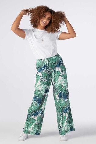 Rae Green Tropical Eve Pull On Wideleg Trouser