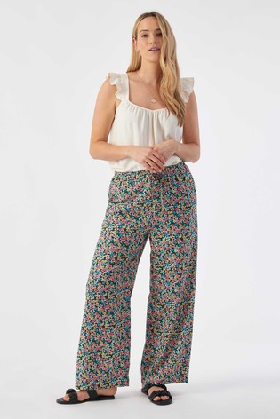 Rae Blue Floral Eve Pull On Wideleg Trouser