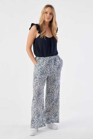 Rae Blue Animal Eve Pull On Wideleg Trouser