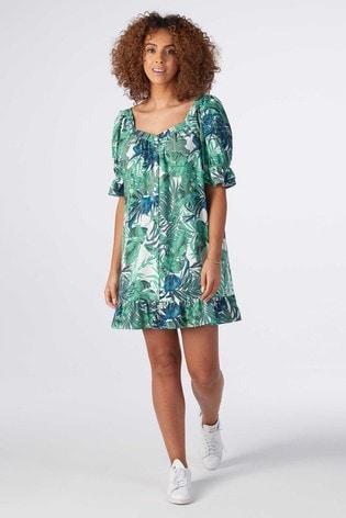 Rae Green Tropical Mia Puff Sleeve Swing Dress