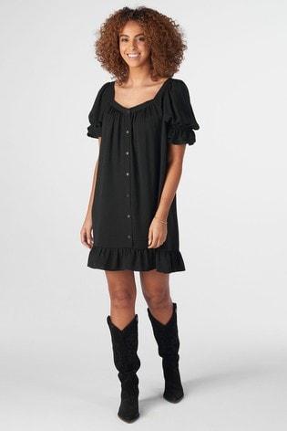 Rae Black Mia Puff Sleeve Swing Dress