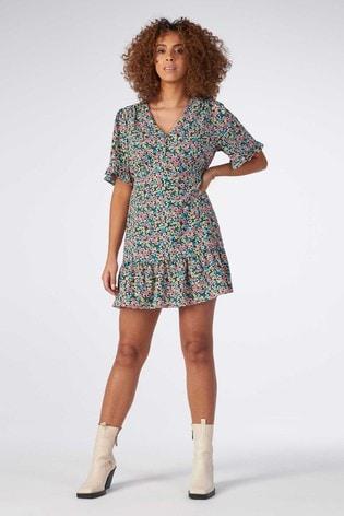 Rae Blue/Pink Floral Poppy Ruffle Hem Mini Tea Dress