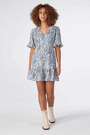 Rae Blue Animal Poppy Ruffle Hem Mini Tea Dress