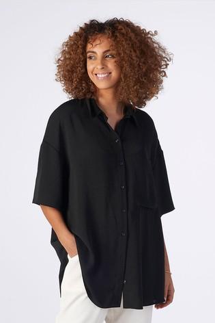 Rae Black Ellie Drapey Boxy Shirt
