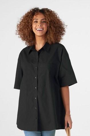 Rae Black Ellie Cotton Boxy Shirt