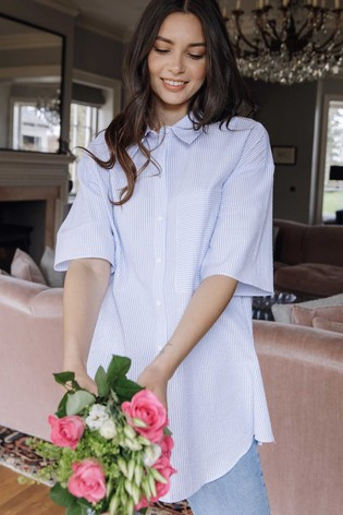 Rae Blue Stripe Ellie Cotton Boxy Shirt