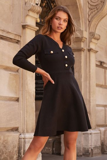 Lipsy Black Petite Knitted Fit and Flare Dress