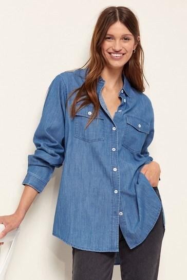 Lipsy Blue Denim Longline Shirt