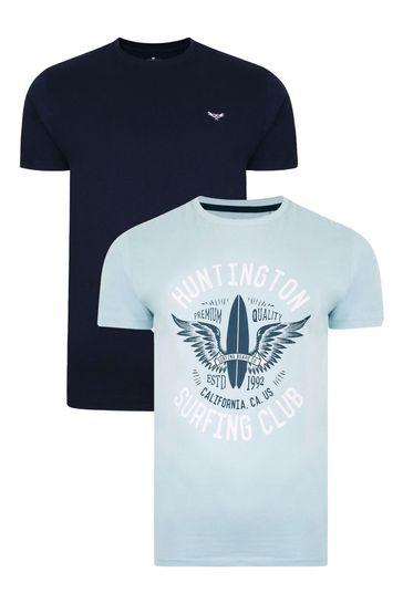 Threadbare Navy Blue 2 Pack Coleman Cotton T Shirts