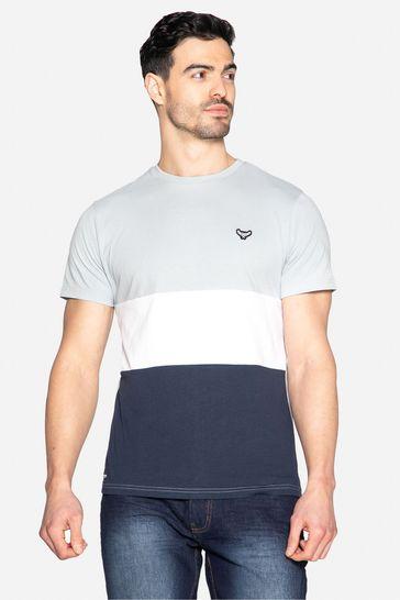 Threadbare Blue Mace Colour Block Cotton Crew Neck T Shirt