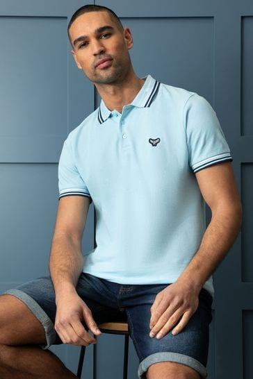 Threadbare Blue Zev Cotton Pique Polo Shirt