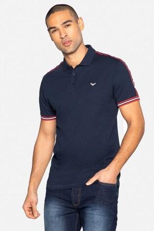 Threadbare Navy Lexter Cotton Short Sleeve Polo Shirt