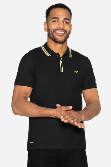 Threadbare Black Mateo Cotton Pique Polo Shirt