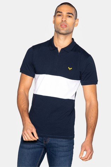 Threadbare navy Vinn Cotton Short Sleeved Polo Shirt