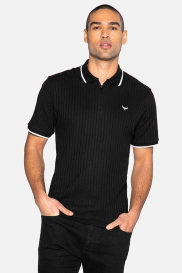 Threadbare Black Ward Cotton Ribbed Polo Shirt