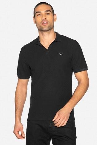 Threadbare Black Oakley Cotton Pique Waffle Polo Shirt