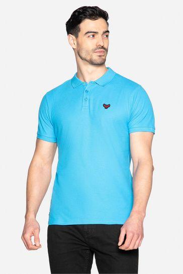 Threadbare Blue Samson Cotton Pique Polo Shirt