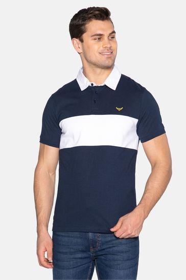 Threadbare navy Johnson Cotton Rugby Shirt