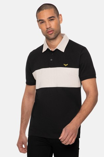 Threadbare black Johnson Cotton Rugby Shirt