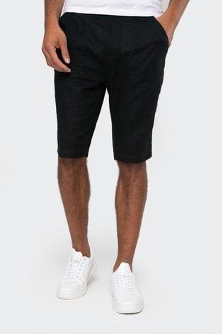 Threadbare Navy Barry Linen Blend Chino Shorts