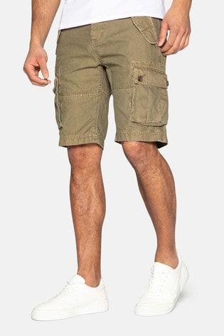 Threadbare Khaki Core Cotton Cargo Shorts