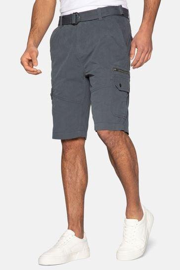 Threadbare charcoal Propane Belted Cotton Cargo Shorts