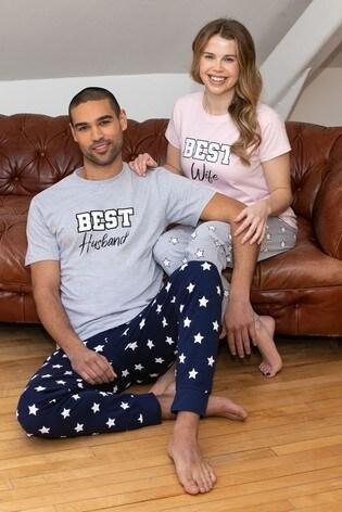 Threadbare Grey Marl Husband Cotton Pyjama Set