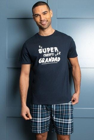 Threadbare Navy Super Grandad Cotton Check Pyjama Set