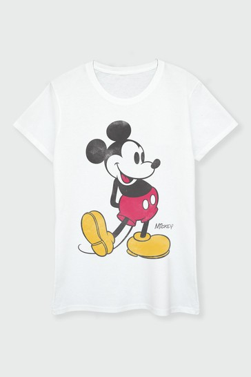 Brands In White Mickey Mouse Womens T-Shirt by Disney