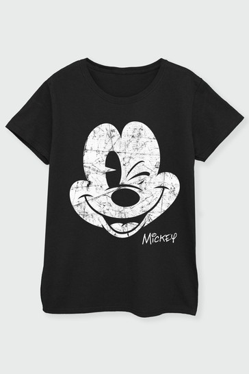 Brands In Black Mickey Mouse Womens T-Shirt by Disney