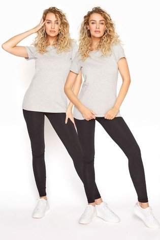 Long Tall Sally Black Two Pack Cotton Leggings
