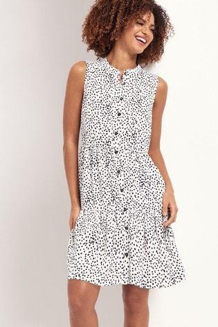 Lipsy Mono Spot Button Through Sleeveless Smock Dress