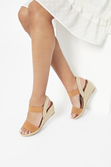 Lipsy Brown Extra Wide Fit Elastic Low Wedge