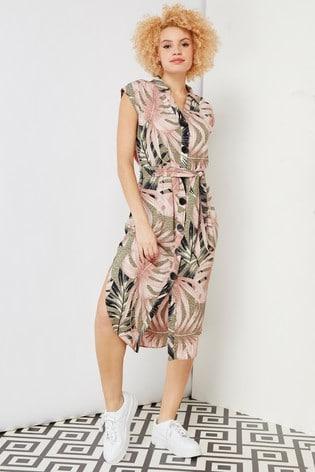 Roman Khaki Palm Leaf Animal Print Shirt Dress