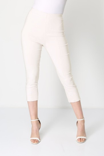 Roman Ivory Cropped Stretch Trouser